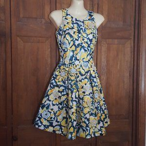 H&M Yellow Navy Floral Fit & Flare Dress Pockets